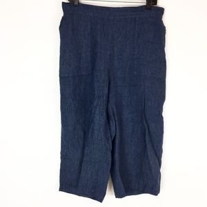 Flax Pants Womens Size Medium Blue Linen Cropped